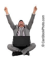 frente, computador, trabalhador, feliz