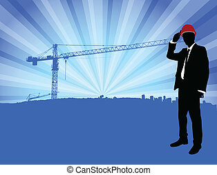 frente, construção, arquiteta