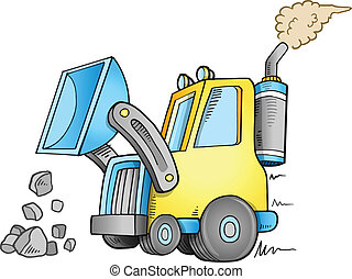 frente, construção, vetorial, carregador