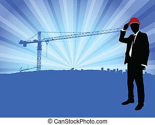 frente, construcción, arquitecto