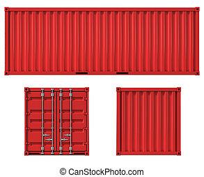 frente, contenedor carga, espalda, lado