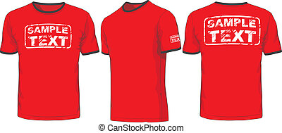 frente, costas, e, lado, vistas, de, t-shirt., vetorial