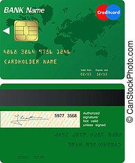 frente, crédito, costas, cartão