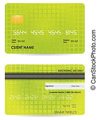 frente, crédito, vetorial, costas, cartão