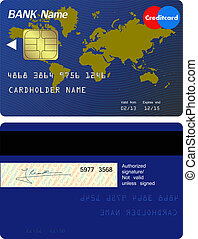 frente, credito, espalda, tarjeta