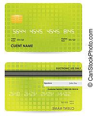 frente, credito, vector, espalda, tarjeta