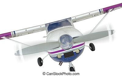 frente, de, único, avião hélice, branco