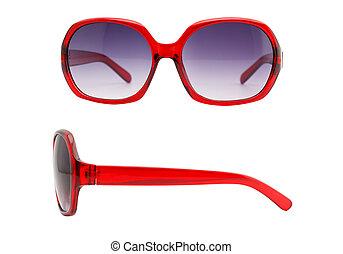 frente, e, vista lateral, de, óculos de sol, isolado, branco, fundo