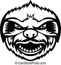 frente, enojado, cabeza, perezoso, retro, mascota, blanco, vista, negro