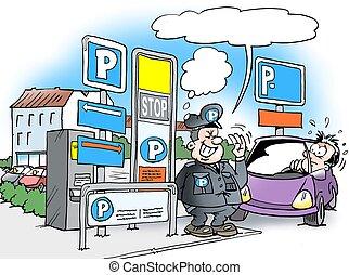 frente, estacionamiento, controlador de estacionamiento, ...