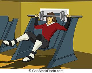 frente, exercitar homem, vista
