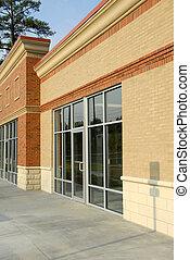 frente, fachada, de, commercia