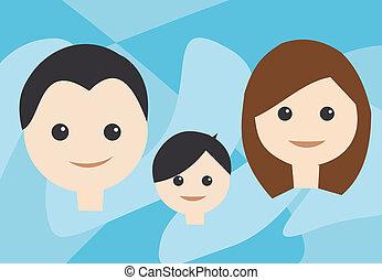 frente, família, vista