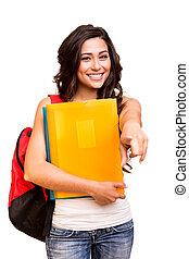 frente, feliz, jovem, apontar, estudante