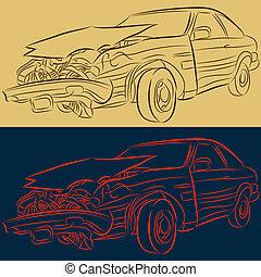 frente, fin, dañado, coche