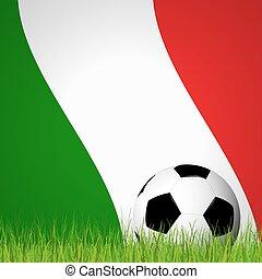frente, futbol, bandera, pelota, italiano