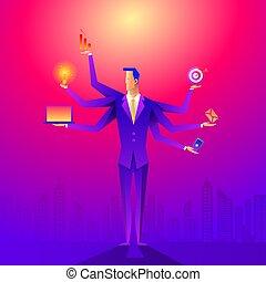 frente, grande, city., hombres de negocios, multitarea