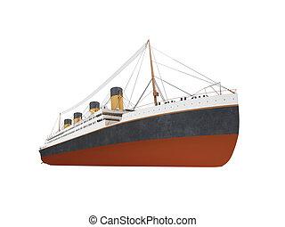 frente, grande, navio, forro, vista