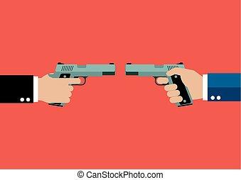 frente, handguns, dois, segurar passa
