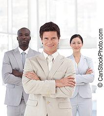 frente, hombre sonriente, equipo negocio