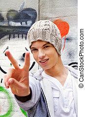 frente, homem,  graffiti, adolescente,  cool-looking
