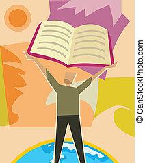frente, homem, livro, levantamento, vista