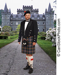 frente, inverary, hombre, castillo, escocés