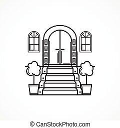 frente, línea, vector, puerta, icono