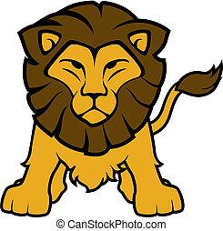 frente, leão, vetorial, vista