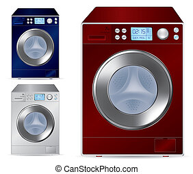 frente, máquina, carga, lavado