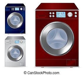 frente, máquina, carregando, lavando