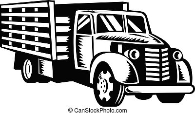 frente, madeira, woodcut, lado, pickup, retro, branca, pretas, caminhão, americano, trilhos, clássicas