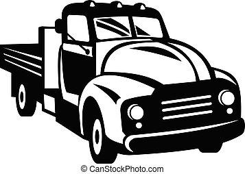 frente, madeira, woodcut, lado, pickup, retro, branca, pretas, caminhão, vindima, americano, trilhos