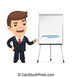 frente, marcador, flipchart, homem negócios