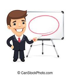 frente, marcador, whiteboard, homem negócios