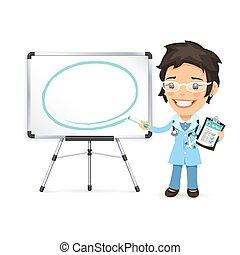 frente, marcador, whiteboard, médico feminino
