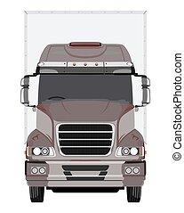 frente, marrom, caminhão