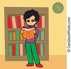 frente, menino, livro, leitura, vista