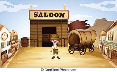 frente, menino, taverna, barzinhos, jovem