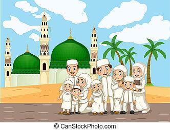 frente, mesquita muçulmana, família