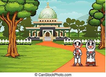 frente, mesquita muçulmana, feliz