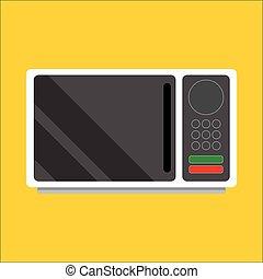 frente, microwave., modernos, vista