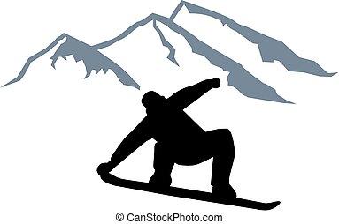 frente, montanha, pular, silueta, snowboarder