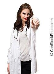 frente, mulher aponta, doutor