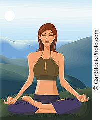 frente, mulher, ioga, vista