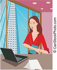 frente, mulher, trabalhando, vista