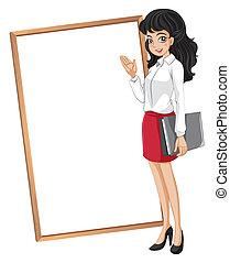 frente, mulher, vazio, whiteboard