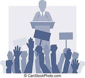 frente, multidão., orador, plataformas