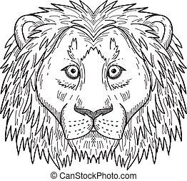 frente, negro, espantado, cabeza, dibujo, león, cobarde, blanco, vista