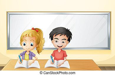 frente, niño, niña, whiteboard, vacío